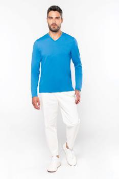 Pánské trièko dl.rukáv V-neck