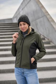 Dámská softshellová bunda s kapucí